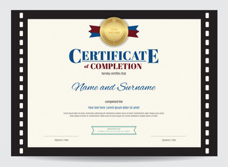 Certificate of completion template with movie film border