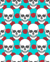 Human skull tribal style seamless pattern. Vector hand drawn illustration. Boho