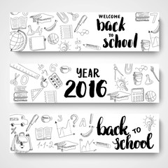 Set of isolated header horizontal banners with school doodle sketches, on white background.