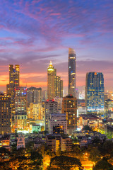 Aerial view over Bangkok modern office building in bangkok business zone with sunset sky in Bangkok, Thailand
