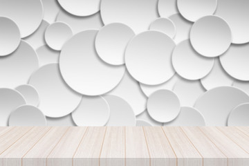 Perspective white wood table top with Paper circle banner with drop shadows Background,
