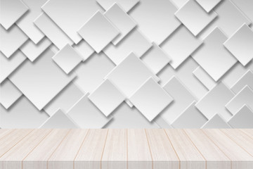 Perspective white wood table top with Paper square banner with drop shadows Background, Elegant Design with Space for placement your background,Template mock up for montage your products