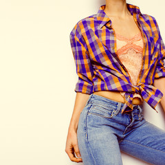 Country style fashion Leto.Top, jewelry, bracelets, classic blue