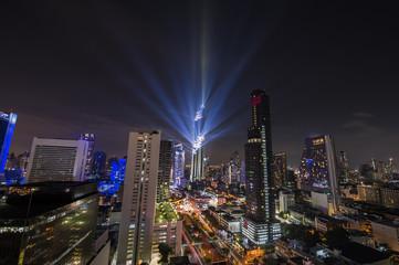 Aerial view dark blue nigh in Bangkok