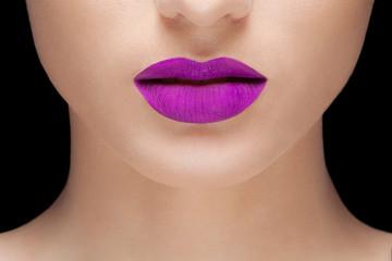 woman purple lips