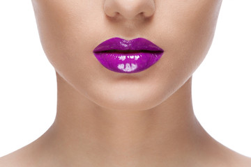 woman purple lips