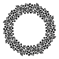 Round frame of flowers. Small flowers on a circle.