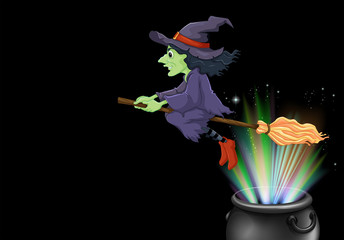 Witch flying on magic broom