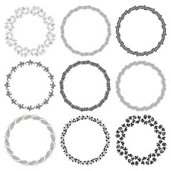 Set of round frames with flowers. Decorative elements for design.