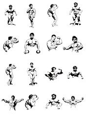 Set of blue color bodybuilders isolated on white background, bodybuilding