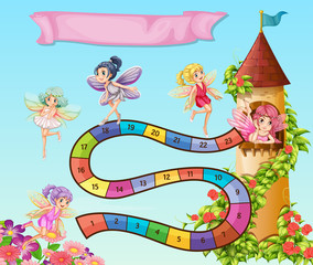 Boardgame template with fairies flying in garden