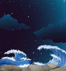 Background scene with giant waves at night