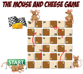 Boardgame template with mouse and cheese