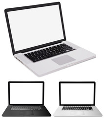 Three computer laptops on white background
