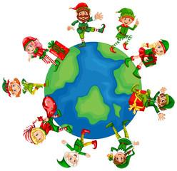 Christmas elves around the world