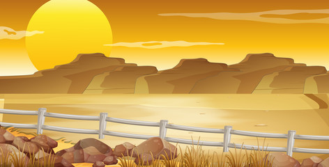 Background scene with desert at sunset