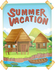 Summer vacation poster with houses by the river