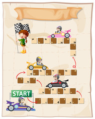 Boardgame template with racing cars