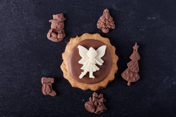 Homemade cookies with chocolate pictures, shortbread and chocola