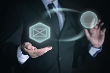 Konzept Interaktion durch Business icons