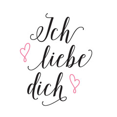 Ich liebe dich lettering with confession