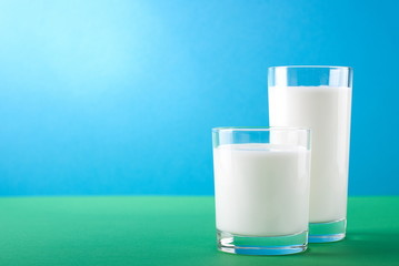 organic milk in the glass on the nature
