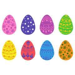 Set of colorful Easter eggs. Decorative element for Easter decor.
