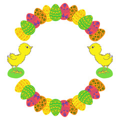 Easter eggs and chicken colored round photo frame.