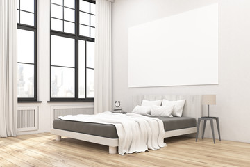 Corner of bedroom interior with poster