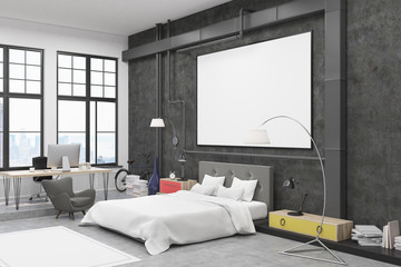 Bedroom with black walls and poster