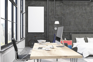 Home office with black walls and poster