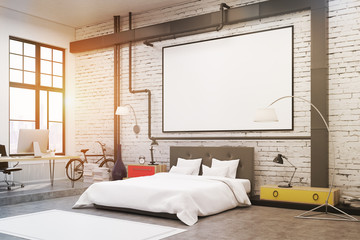 Bedroom: white walls, poster, side view