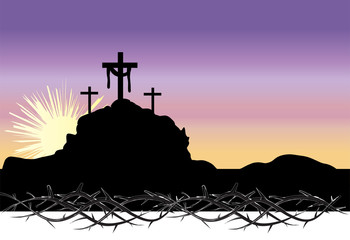 Easter morning, Calvary hill with silhouettes of the cross, Resurrection illustration