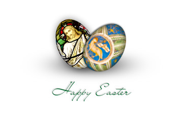 Easter eggs, colorful painted christian religious motives