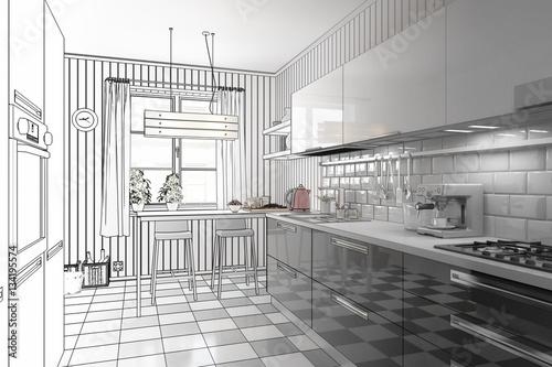 meine neue k che vorschau stockfotos und lizenzfreie bilder auf bild 134195574. Black Bedroom Furniture Sets. Home Design Ideas