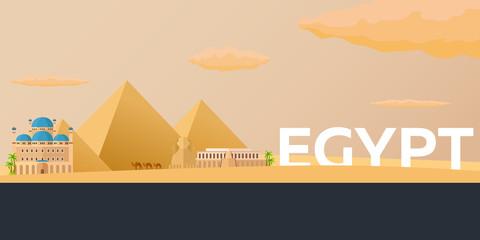 Travel banner to Egypt. Vector flat illustration.