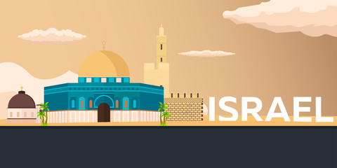 Travel banner to Israel. Vector flat illustration.