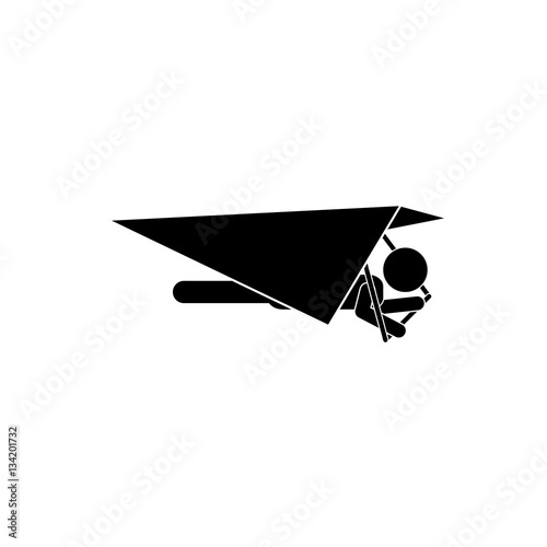 Hang gliding extreme sport icon vector illustration graphic