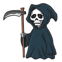 Grim Reaper Cute Cartoon Skeleton Halloween Vector Illustration