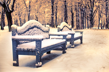 Two benches in city park covered with snow
