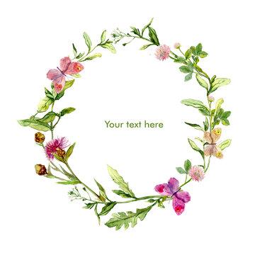 Wreath border frame with wild herbs, meadow flowers, butterflies. Watercolour