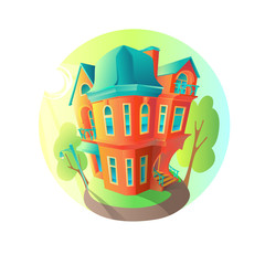 Bright vector house in the summer weather. Cottage in a Victorian style. home with balcony, porch and shop, showcase, canopy. Round emblem