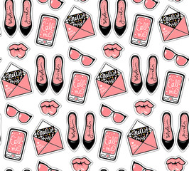 Vector fashion background with stylish contemporary stickers.