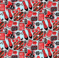 Vector seamless pattern with girls elements: shoes, hearts. glasses, bag, gift box, accessories, notebook, flower. Cute glamour repeat background. Trendy fashion design. Stylish template for girl.