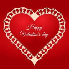 Valentine's day greeting card. Hert shaed lace frame with place for your text.