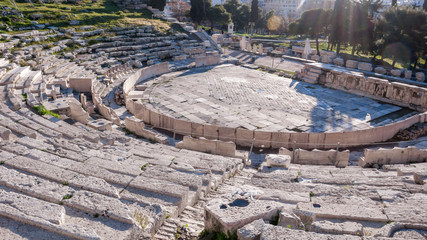 Remains of the Theatre of Dionysus in Acropolis of Athens, Attica, Greece