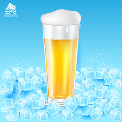 Realistic mock up glass of beer with foam among ice cubes on blue background