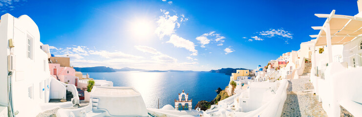 Panorama of Oia village with colorful houses  , view of Oia town, Santorini island, Greece Fototapete