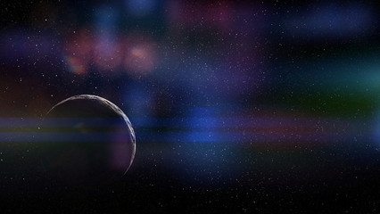 rocky planet far away in deep black space (with lens flare effect)