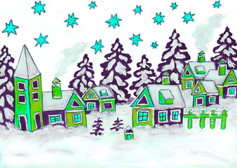 Christmas picture in green and blue colours